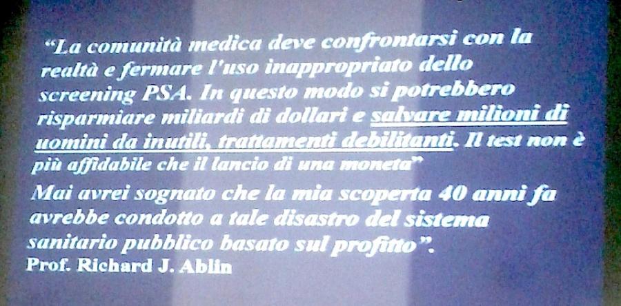 Test PSA e dichiarazione dott. Albin