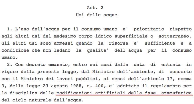 Legge 36 sul cambio climatico artificiale