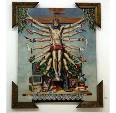 Cristo crocifisso con molte braccia