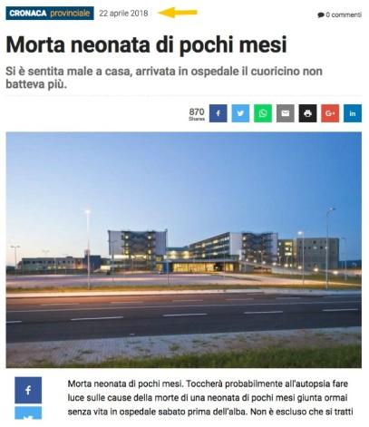 Neonata morta ospedale