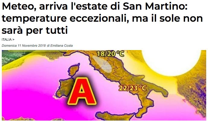 Estate San Martino temperature eccezionali