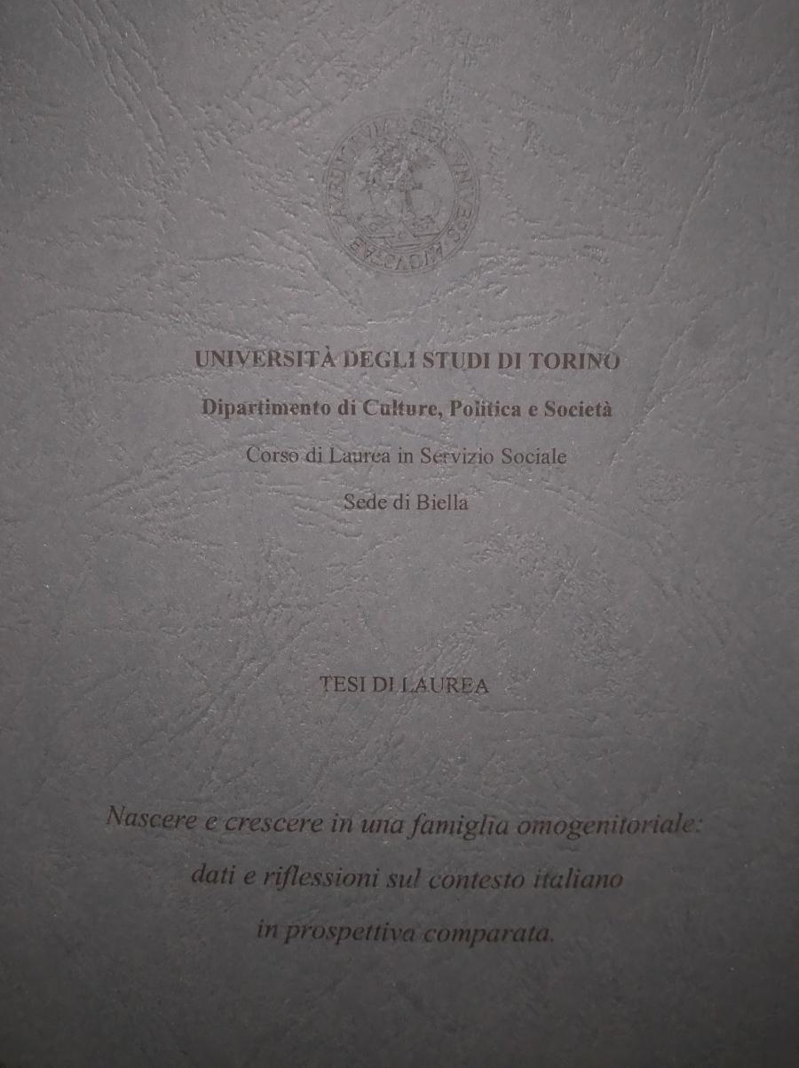 Tesi di laurea Torino famiglie omogenitoriali