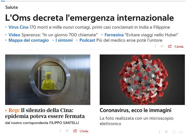 Corona virus immagini - articolo Repubblica 31 gennaio 2020