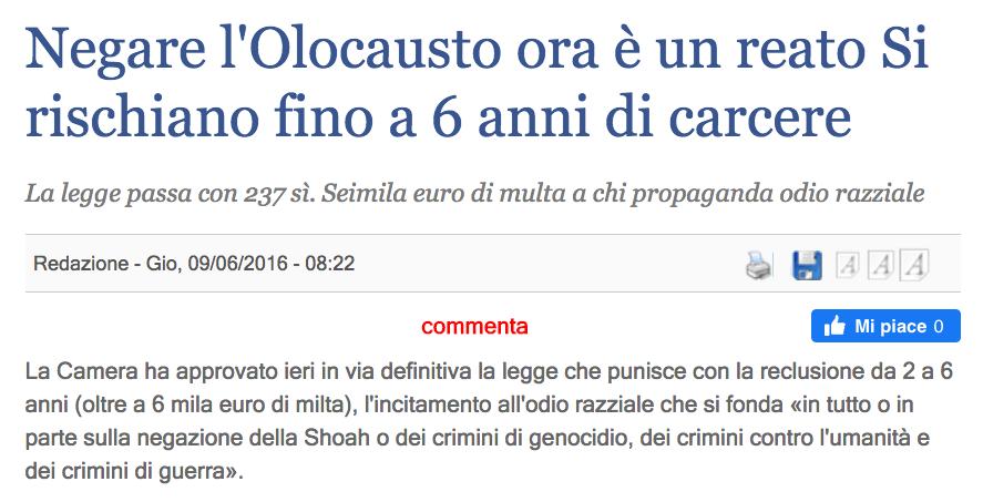 Negare l'olocausto è reato