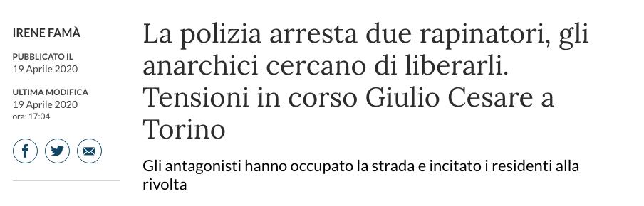 Articolo La Stampa e rivolte a Torino