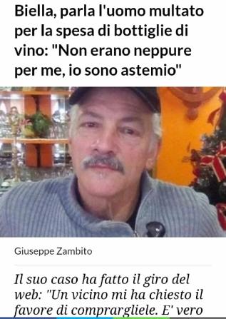 Uomo multato per bottiglie di vino