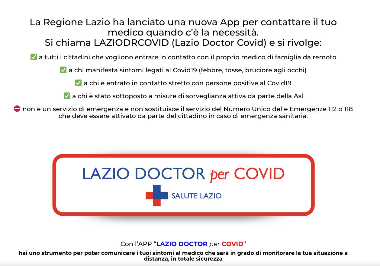 App DoctorCovid Regione Lazio