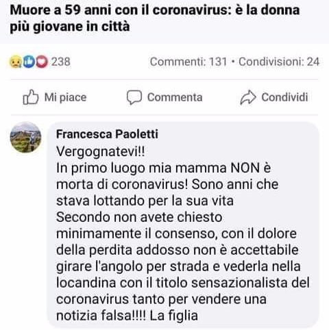 Donna coronavirus morta fake