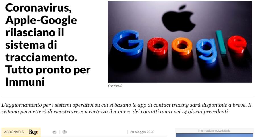 Google e Apple tracciamento