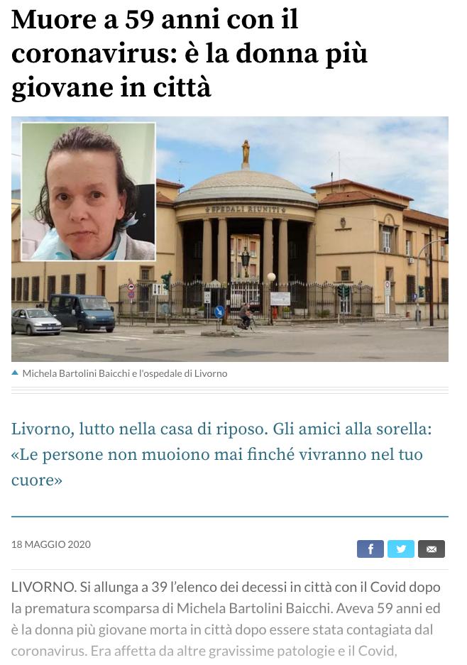 Il Tirreno morta a 59 anni