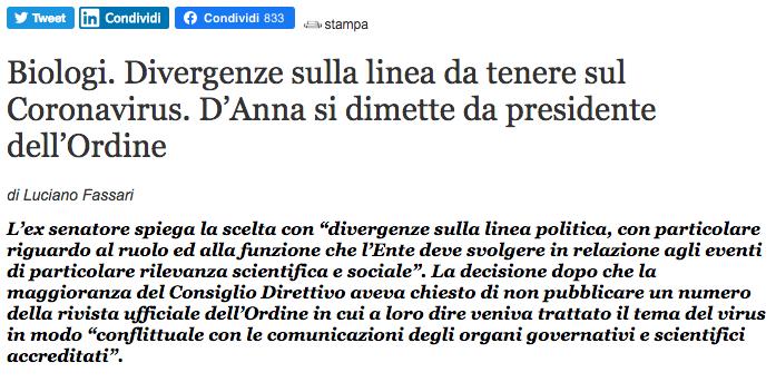 Dimissioni dott. Vincenzo D'Anna