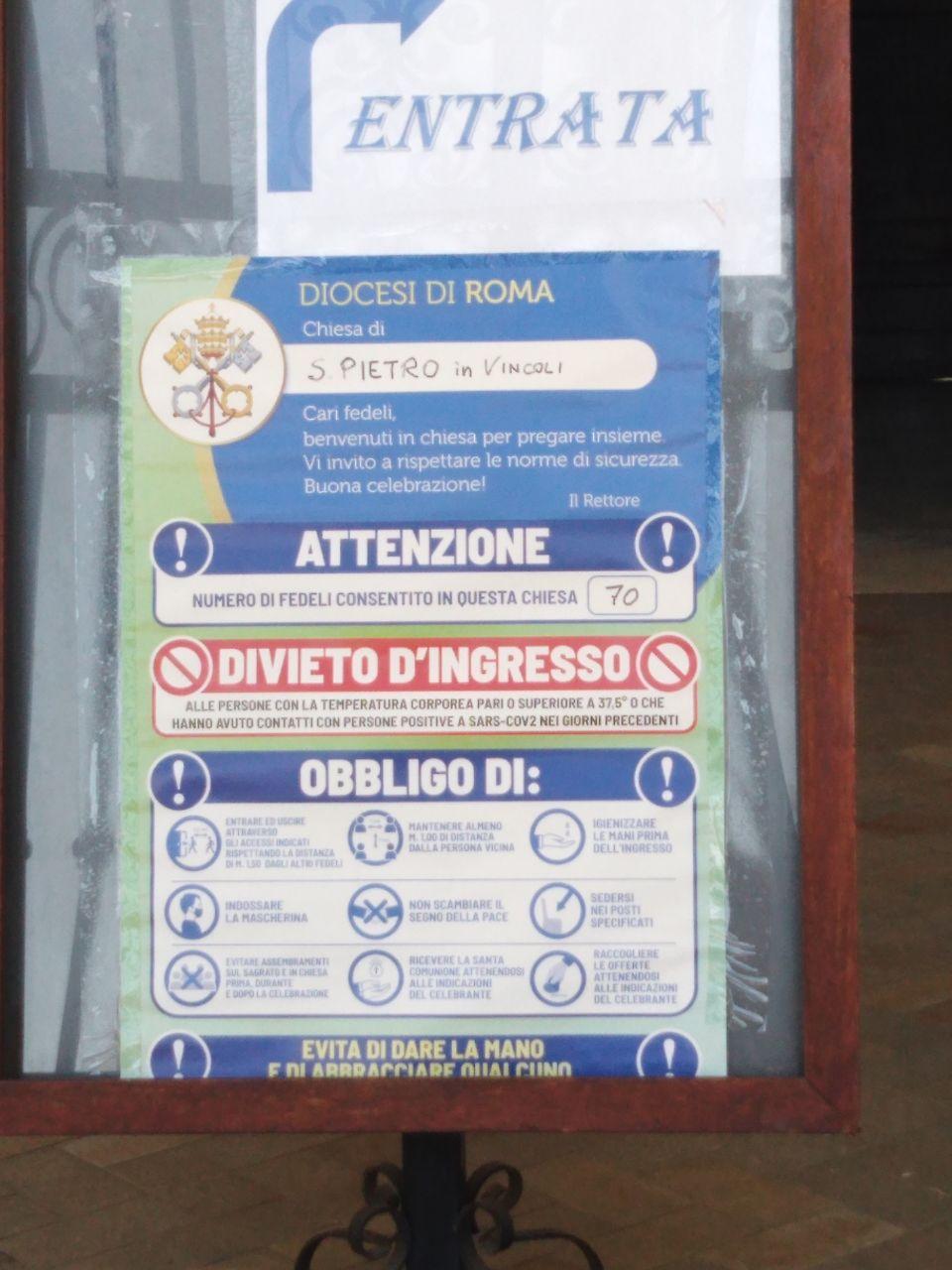 Roma, avviso in chiesa anti covid